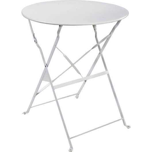 Table de jardin naterial flore ronde blanc 4 personnes leroy merlin - Table de jardin ronde robin naterial ...