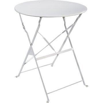 Table de jardin Flore ronde blanc 4 personnes