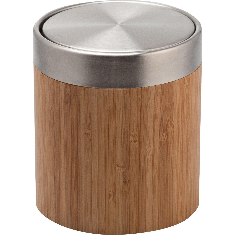 Poubelle de salle de bains 3 l naturel Bamboo | Leroy Merlin