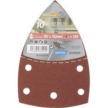 Lot de 10 patins abrasifs NORTON, 102x152 mm, grains 120