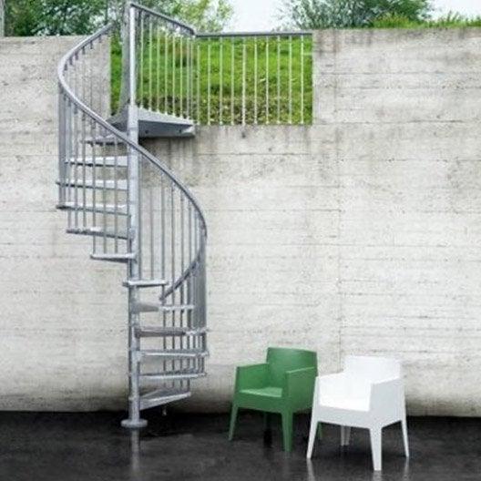 Escalier colima on rond steel zink acier galvanis leroy for Cout escalier exterieur