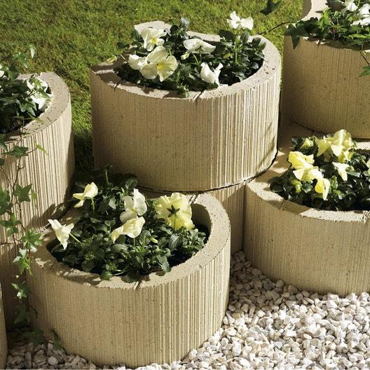 muret floral de sout nement planter floralie b ton ton pierre x cm leroy merlin. Black Bedroom Furniture Sets. Home Design Ideas