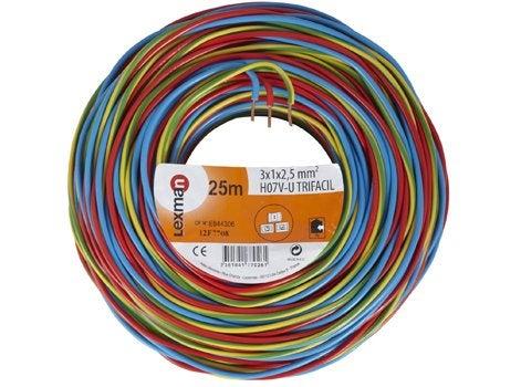 BOBINOT CABLE RIGIDE 25M HO7VU 1,5mm/² BLEU
