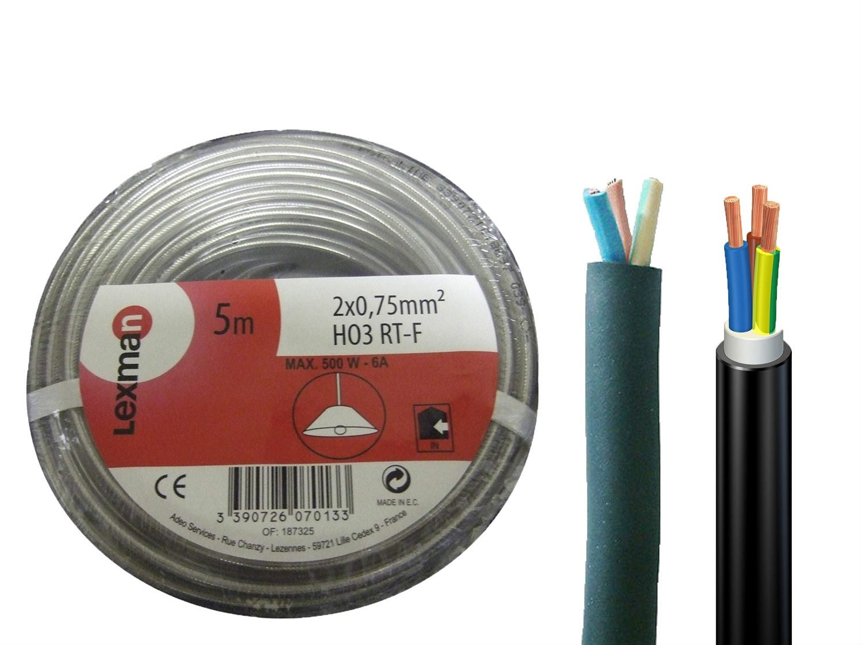 5 x 1,5 mm/² noir diff/érentes tailles au choix Mod/èle h05 vV-f 5G1,5 mm/²