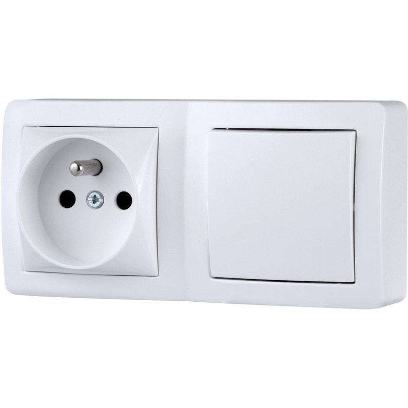 Interrupteur Et Prise Avec Terre Saillie Schneider Electric Alréa Blanc
