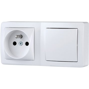 Interrupteur et prise avec terre saillie Alréa, SCHNEIDER ELECTRIC, blanc