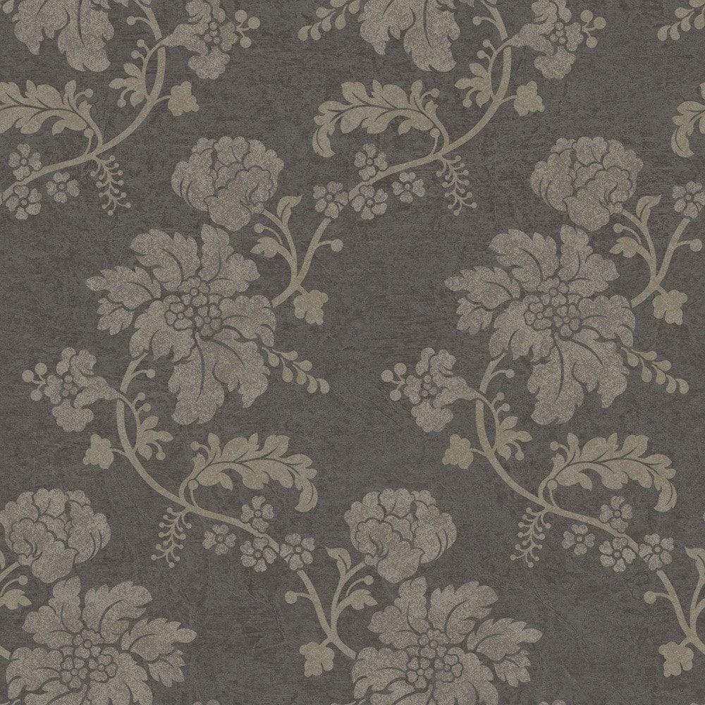 Papier peint flower gris clair, gris foncé intissé jade | Leroy Merlin