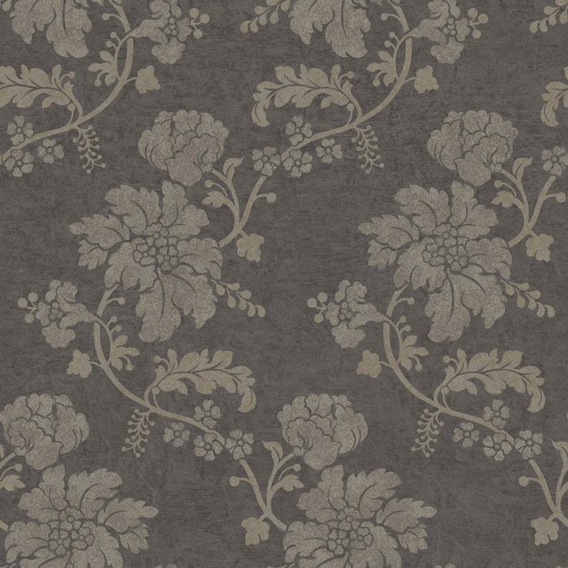 Papier Peint Flower Gris Clair Gris Fonce Intisse Jade Leroy Merlin