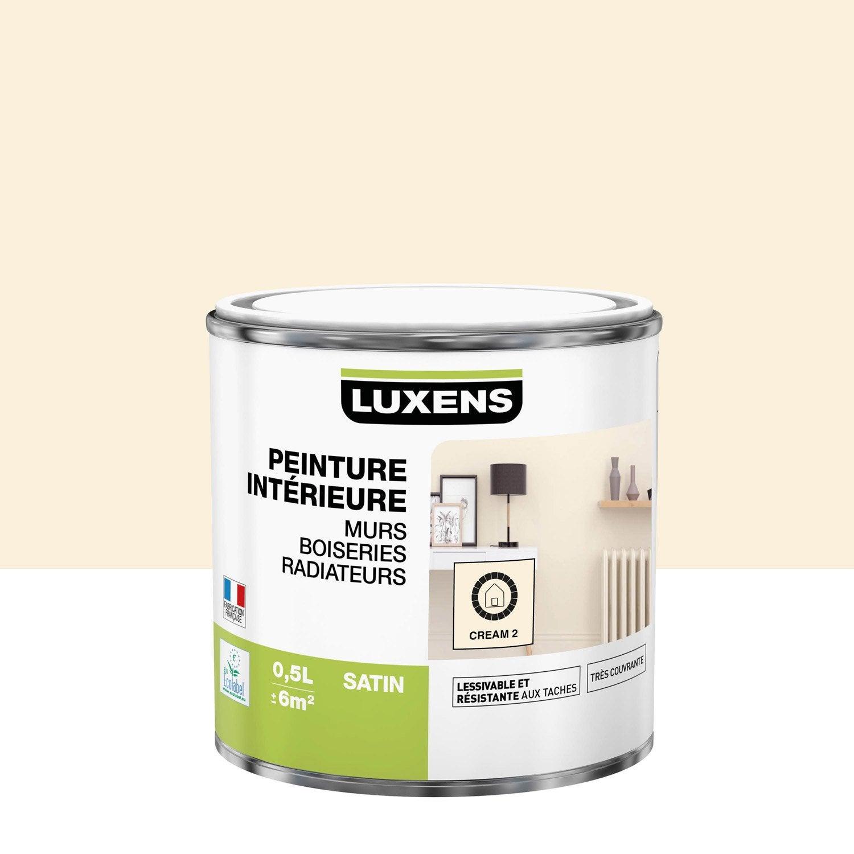 Peinture mur, boiserie, radiateur Multisupports LUXENS, cream 2, 0.5 l, satin