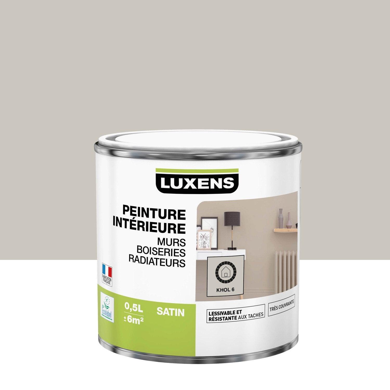 Peinture mur, boiserie, radiateur Multisupports LUXENS, khol 6, 0.5 l, satin