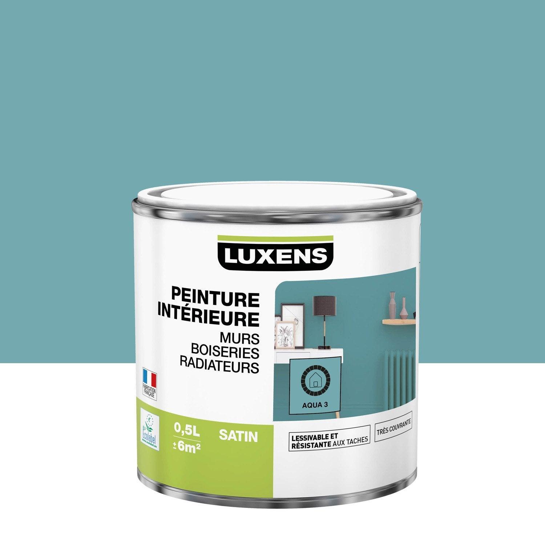 Peinture mur, boiserie, radiateur Multisupports LUXENS, aqua 3, 0.5 l, satin
