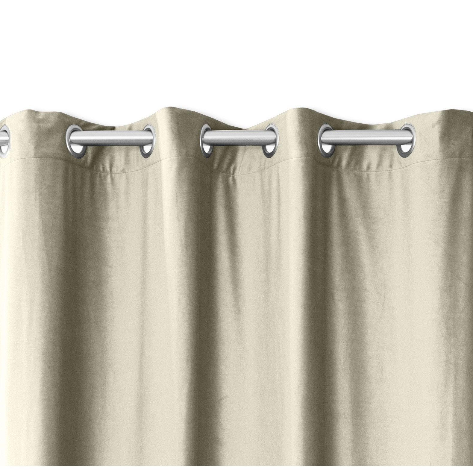 Rideau tamisant, velours, Velours beige l.140 x H.260 cm