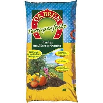 Terre végétale plantes méditerranéennes OR BRUN, 40 l