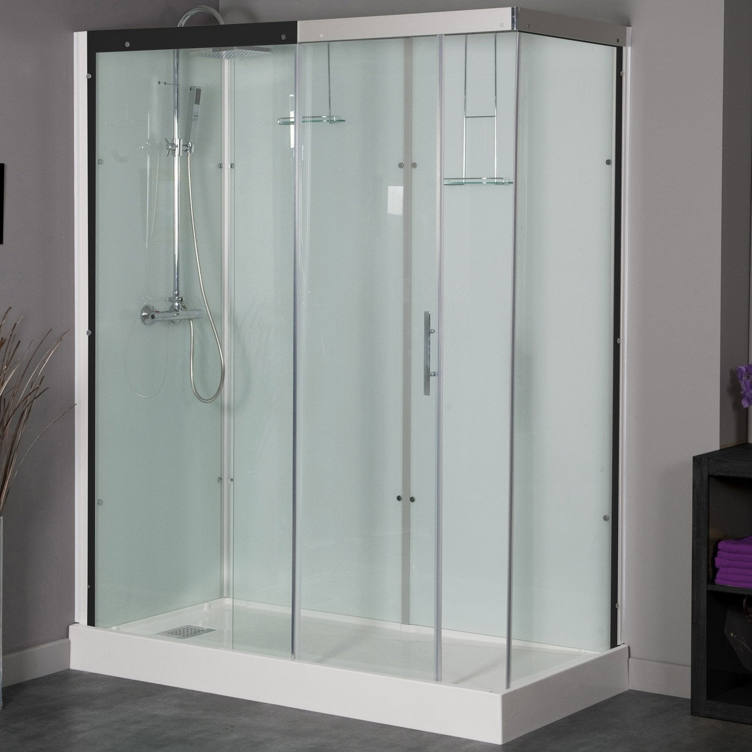 Cabine de douche rectangulaire 120x90 cm, Thalaglass 2 thermo ...