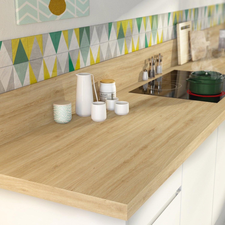 plan de travail stratifi effet ch ne naturel mat x cm mm leroy merlin. Black Bedroom Furniture Sets. Home Design Ideas