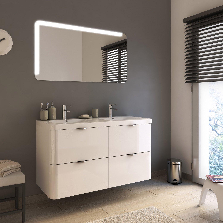 Meuble de salle de bains plus de 120 blanc neo shine - Meuble salle de bain leroy merlin neo ...