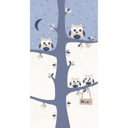 papier peint hibou bleu blanc beige intiss lisse malice leroy merlin. Black Bedroom Furniture Sets. Home Design Ideas