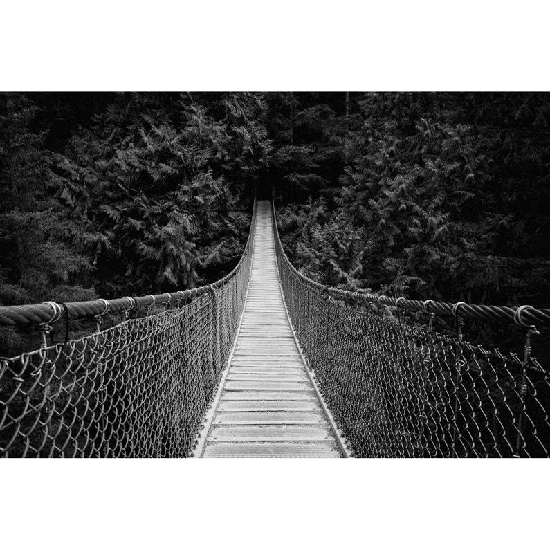 Toile Imprimée Pont Suspendu Noir Blanc Artis L97 X H65 Cm