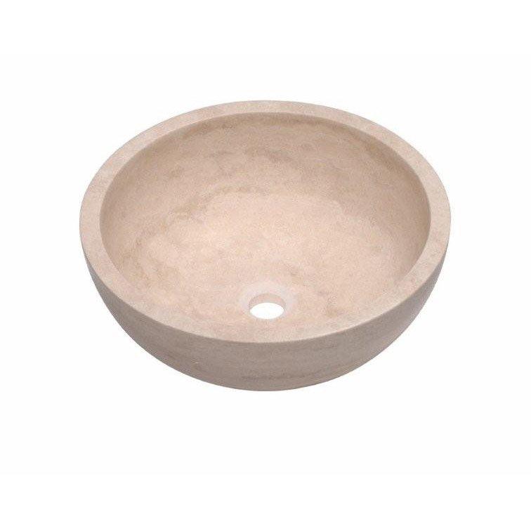 Vasque à poser travertin Diam. 40.6 cm beige / naturel Elodie