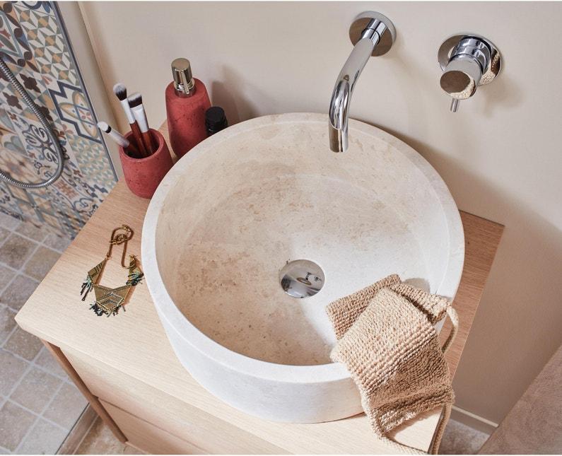 Vasque à poser travertin Diam.40.6 cm blanc Amelie