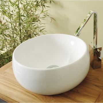 Vasque A Poser Ceramique Diam38 Cm Blanc Lune