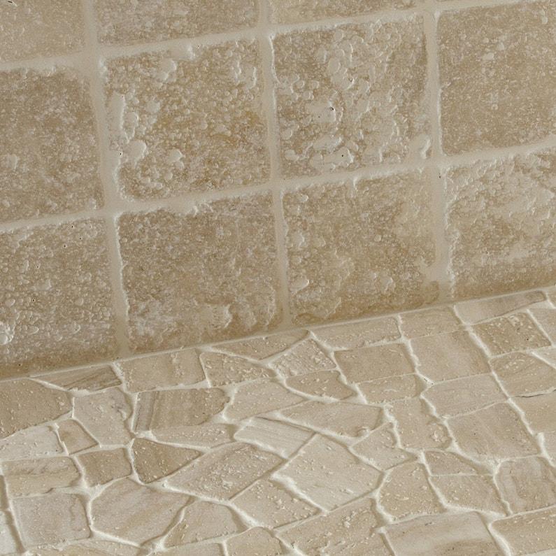 Travertin sol et mur effet pierre ivoire Antique l.10 x L.10 cm