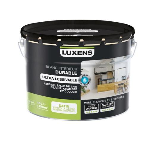 Peinture Luxens Mur Plafond Et Boiserie Durable Résistant Blanc Satiné 10 L