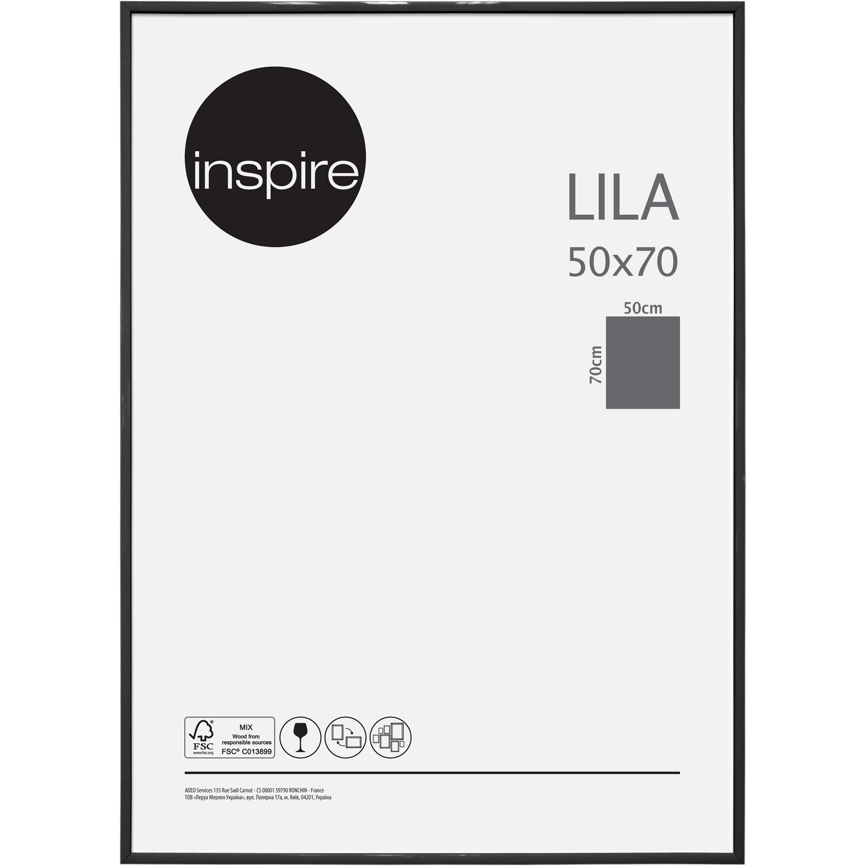 Cadre Lila, l.50 x H.70 cm, pvc noir