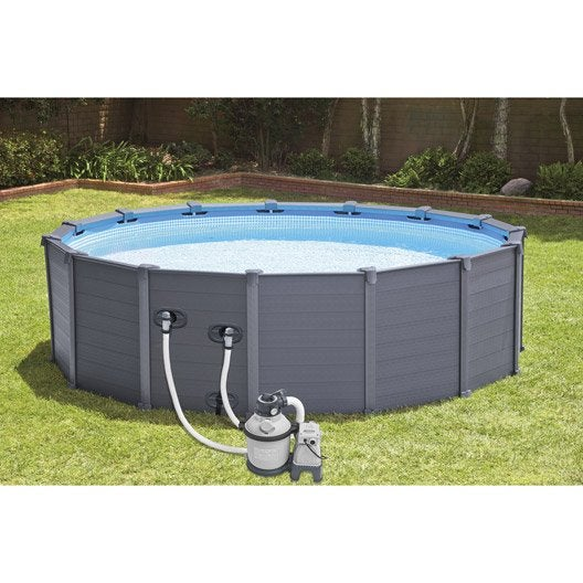 Piscine hors sol autoportante tubulaire graphite intex for Piscine tubulaire hauteur 1 m