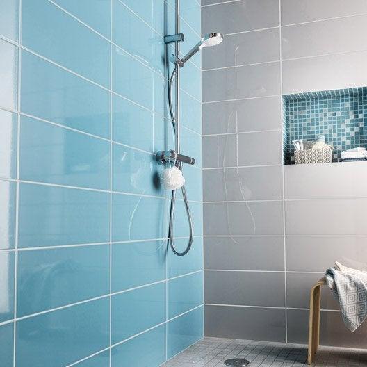 Fa ence mur bleu atoll n 3 loft brillant x cm - Faience verte salle de bain ...