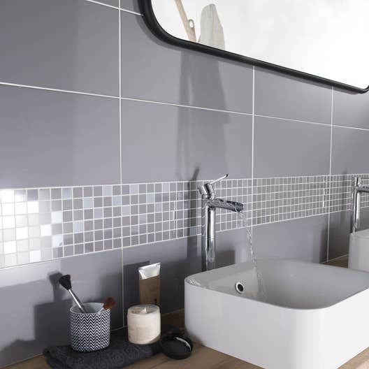 Fa ence mur gris galet n 3 loft brillant x cm for Carrelage mural cuisine gris clair