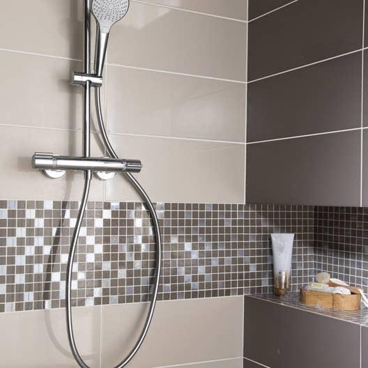 Fa ence mur blanc lin n 1 loft brillant x cm for Faience salle de bain blanc brillant