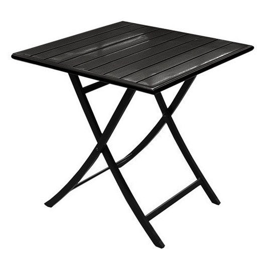 table de jardin miami carre noir 2 personnes - Table Pliante De Jardin Leroy Merlin