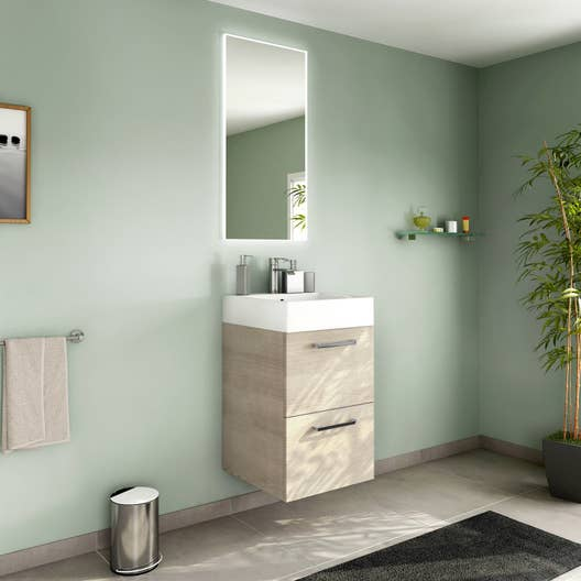 Meuble de salle de bains moins de 60 marron neo line leroy merlin - Meuble de salle de bain marron ...