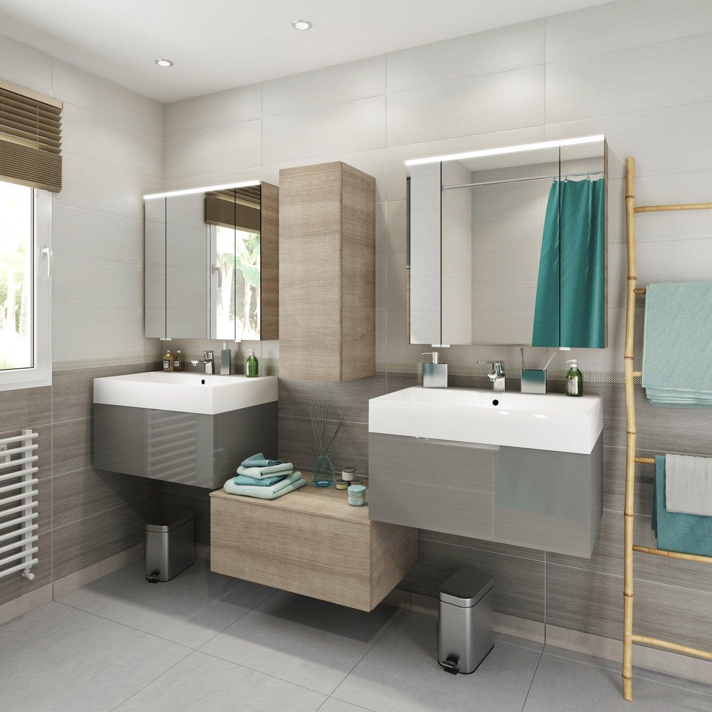 Meuble de salle de bains de 60 79 gris argent neo for Meuble haut salle de bain gris