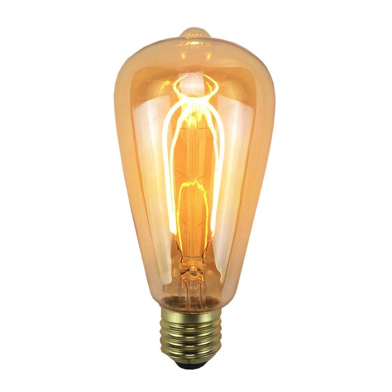 Ampoule Décorative Led Ambré Poire E27 240 Lm 35 W Blanc Chaud Sampa Helios