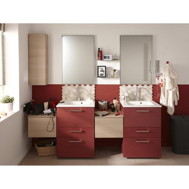 Meuble de salle de bains l.60 x H.84 x P.48 cm, rouge, Neo line ...