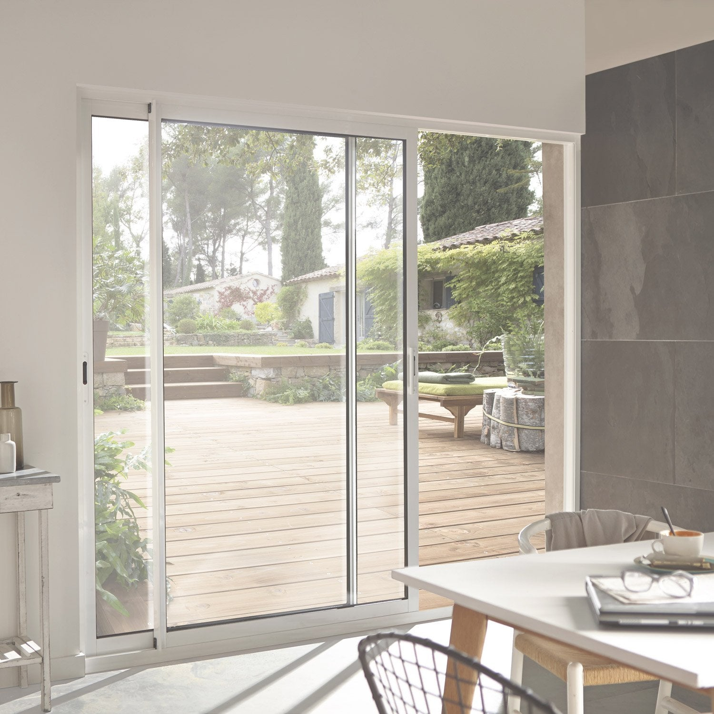 Baie Vitrée Aluminium Blanc Brico Primo H X L Cm Leroy Merlin - Porte vitrée coulissante