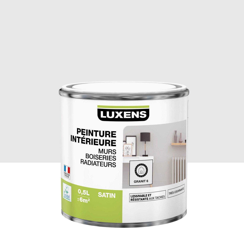 Peinture mur, boiserie, radiateur Multisupports LUXENS, granit 6, 0.5 l, satin
