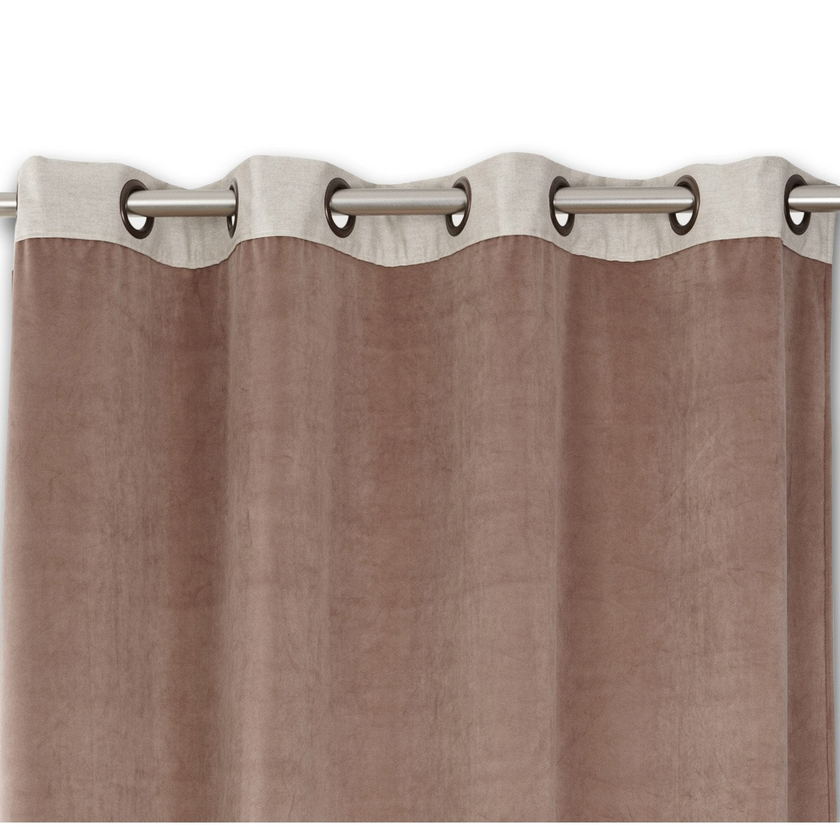 Rideau tamisant, velours, Velours & lin rose l.140 x H.260 cm