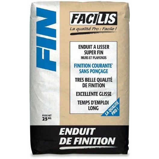 Enduit de lissage poudre extra fin semin 25 kg leroy merlin for Prix sac enduit weber