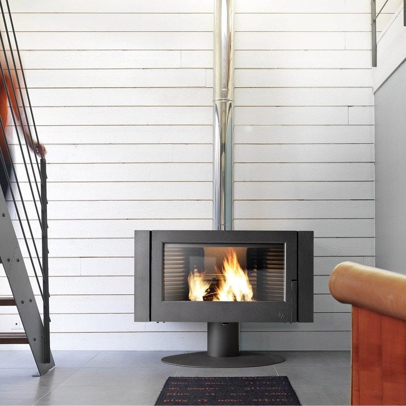 po le bois invicta antaya anthracite 6114 44 12 kw leroy merlin. Black Bedroom Furniture Sets. Home Design Ideas