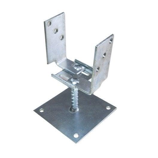 Support fixer acier fixer gris x l 8 x p 6 cm leroy merlin - Support metallique pour poteau bois ...