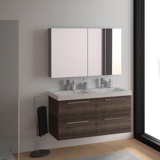 Meuble de salle de bains plus de 120 marron remix for Meuble salle de bain remix leroy merlin