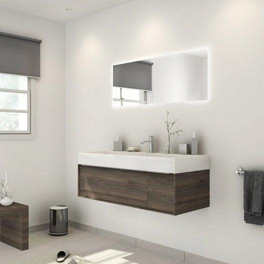 Meuble de salle de bains plus de 120 brun marron neo - Devis salle de bain leroy merlin ...
