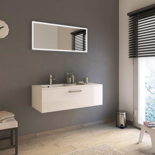 Meuble de salle de bains de 100 119 blanc beige for Produit de salle de bain