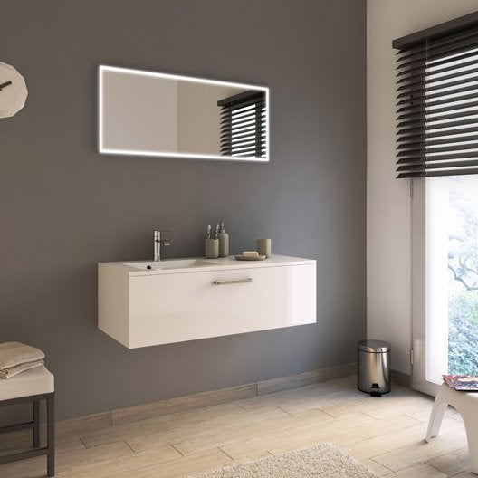 Meuble de salle de bains de 100 119 blanc neo line for Produit contre moisissure salle de bain