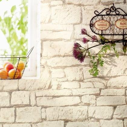 Papier peint intissé BON APPETIT Mur Brique beige