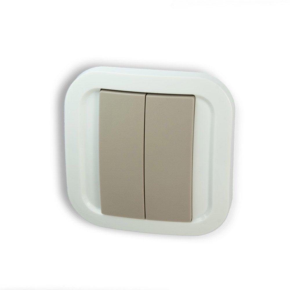 interrupteur connect sans fil sans pile 1 et 2 boutons blanc et taupe nodon leroy merlin. Black Bedroom Furniture Sets. Home Design Ideas