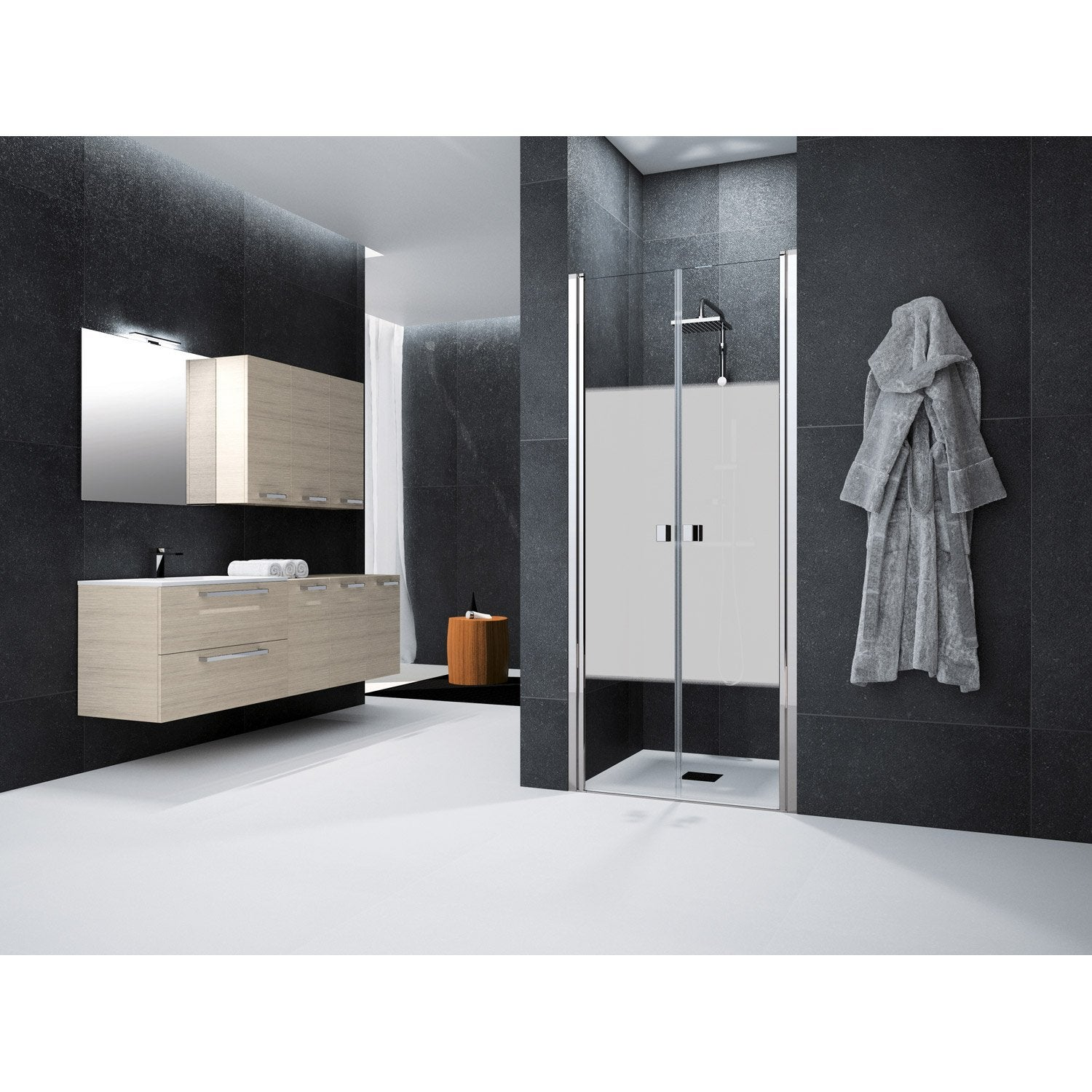 porte de douche battante 80 cm s rigraphi neo leroy merlin. Black Bedroom Furniture Sets. Home Design Ideas